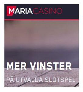 Vinn mer på 10 slotspel hos Maria Casino!