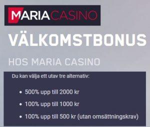 Klicka här för att vinna mer på Maria casino!