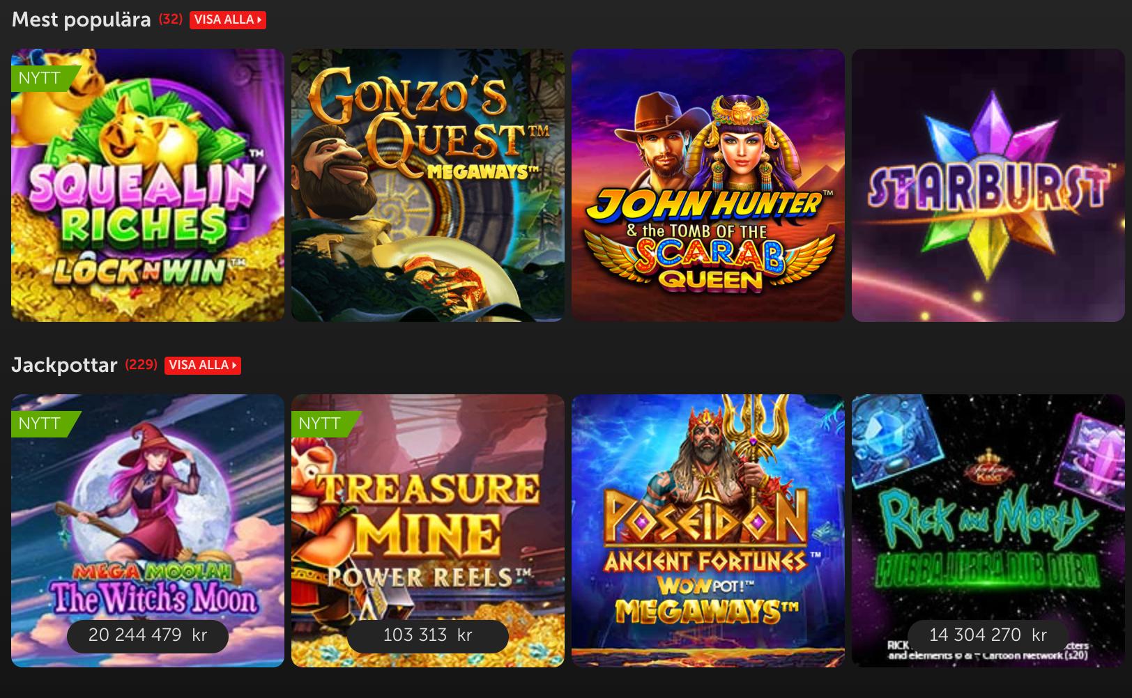 Populära spel